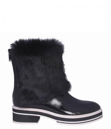Лаковые черные ботинки ICEBERG декорированные мехом