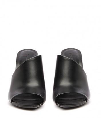Кожаные черные сабо Vic Matie на высоком фигурном каблуке
