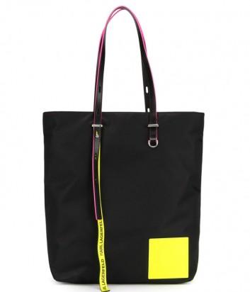 Черная нейлоновая сумка-шоппер Karl Lagerfeld 91KW3084 с неоновыми вставками
