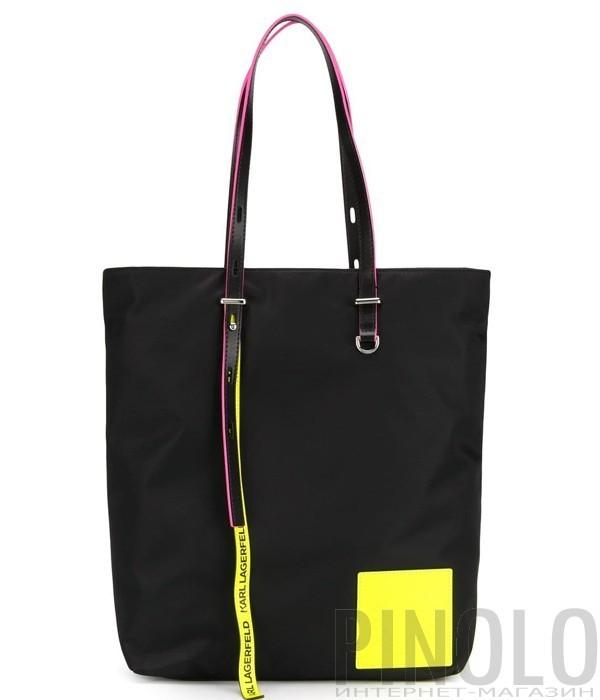 b7738206dfeb Черная нейлоновая сумка-шоппер Karl Lagerfeld 91KW3084 с неоновыми вставками