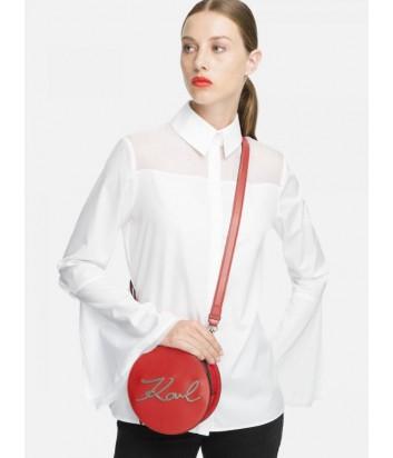 Круглая кожаная сумка Karl Lagerfeld 91KW3061 красная с серебристой фурнитурой