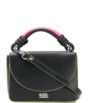 Черная кожаная сумка Karl Lagerfeld 91KW3089 с розовой ручкой и неоновым кантом