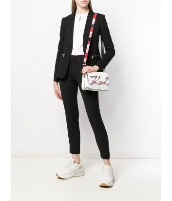Белая кожаная сумка Karl Lagerfeld 91KW3070 декорированная цветной эмалевой вставкой