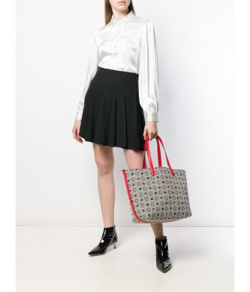 Двухсторонняя сумка-шоппер Karl Lagerfeld 91KW3019 серая с красными ручками
