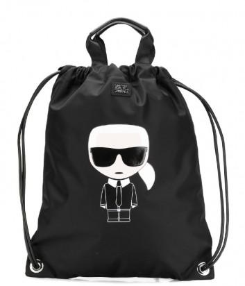 Черный рюкзак-сумка Karl Lagerfeld 91KW3014 с крупным принтом
