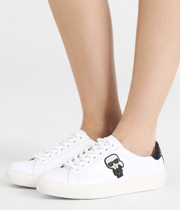 Белые кожаные кеды Karl Lagerfeld KL161033 с яркой аппликацией