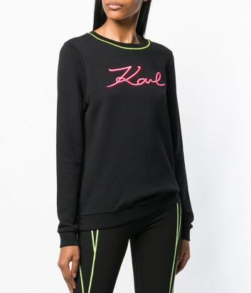 Черный свитер Karl Lagerfeld 91KW1741 с вышитым логотипом и ярким кантом