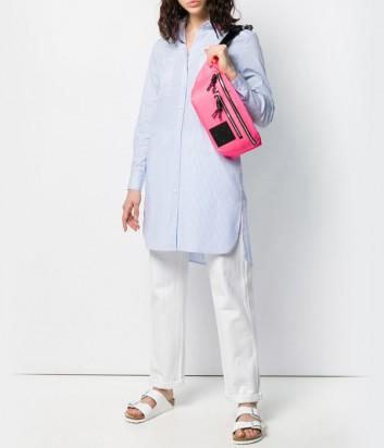 Платье-рубашка Karl Lagerfeld 91KW1609 в нежно-голубую полоску и розовой вышивкой