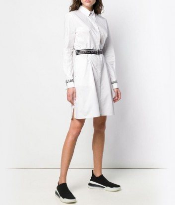 Белое платье-рубашка Karl Lagerfeld 91KW1310 с элегантным брендированным поясом
