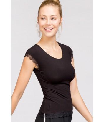 Черная футболка Gisela 0363 с вкладками на чашках