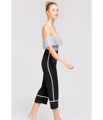 Черные укороченные брюки Gisela 0366 с белыми полосками