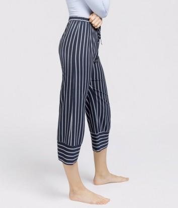 Синие укороченные брюки Gisela 0364 с белыми полосками