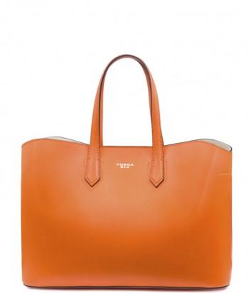 Кожаная сумка-шоппер Tosca Blu TS19TB390 оранжевая
