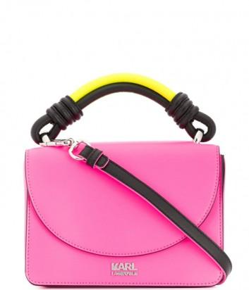 Ярко-розовая кожаная сумка Karl Lagerfeld 91KW3089 с желтой ручкой и черным кантом