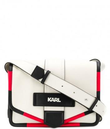 Белая кожаная сумка Karl Lagerfeld 91KW3004 с черно-красным кантом