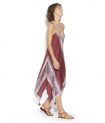Длинное платье Seafolly 53434 сливовое с принтом