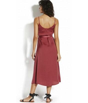 Длинное платье Seafolly 53401 с рюшами сливовое
