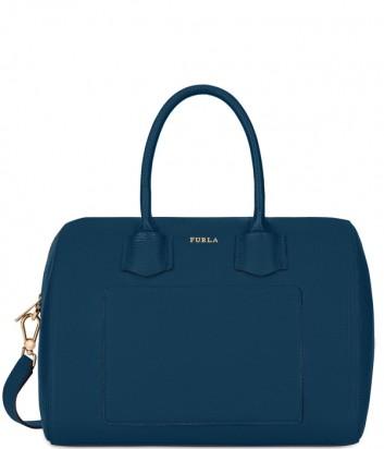 7d6c39c4947f Кожаная сумка Furla Alba 1008076 с внешним карманом синяя ...