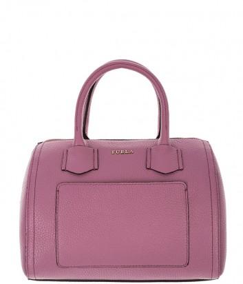 b55e4e8385fa Компактная кожаная сумка Furla Alba 993283 с внешним карманом розовая ...