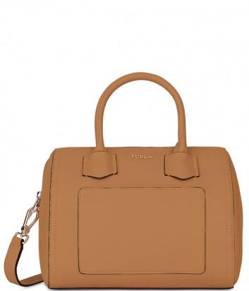 b615b62cc2ad Компактная кожаная сумка Furla Alba 993279 с внешним карманом рыжая ...