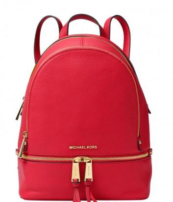Средний кожаный рюкзак Michael Kors Rhea красный с золотой фурнитурой