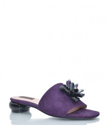 Фиолетовые замшевые шлепанцы Helena Soretti 2002 с декором