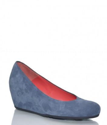 Синие замшевые туфли Pas de Rouge 230 на скрытой танкетке