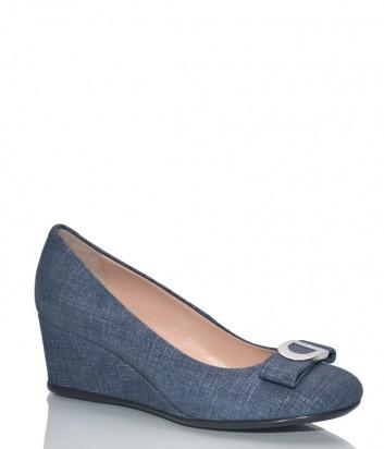 Замшевые туфли Donna Serena 5800 с лазерной обработкой синие