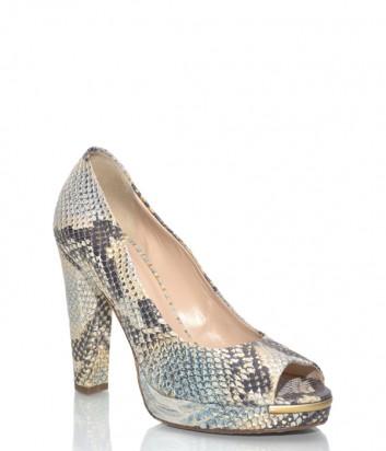 Кожаные туфли Renzoni 2195 бежевые с питоновым принтом