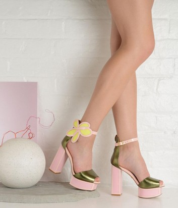Оливковые босоножки Kat Maconie Pammy на розовой танкетке и каблуке