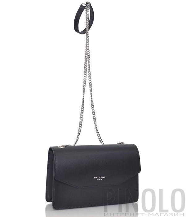 93b89d942545 Кожаная сумка Tosca Blu TS19TB393 на регулируемой ручке-цепочке черная
