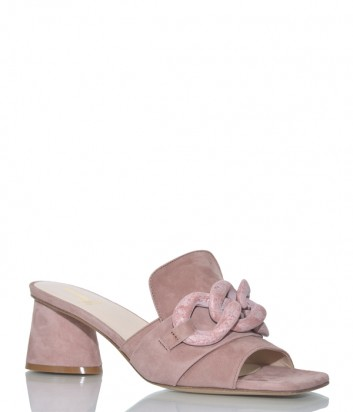 Замшевые мюли Jeannot 58032 на широком каблуке розовые