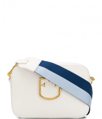 f0887d57aaa5 Компактная кожаная сумка Furla Brava 1007913 с широким плечевым ремнем белая  ...