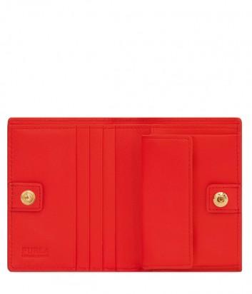 Кожаный кошелек Furla Belvedere 1008458 с золотистой фурнитурой красный