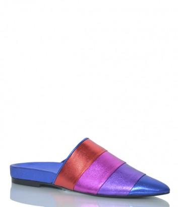 Синие кожаные мюли Apepazza MRS02 с цветными полосками