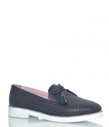 Туфли Lab Milano 62003 из перфорированной кожи синие