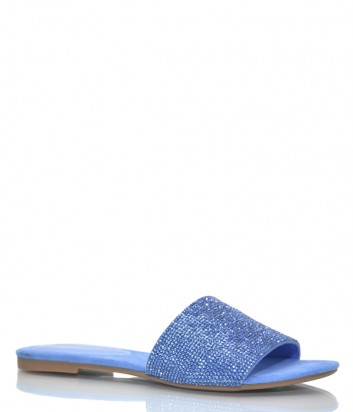 Замшевые шлепанцы Jeffrey Campbell Sparque в россыпи кристаллов синие