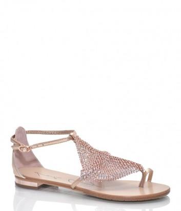 Кожаные сандалии Lola Cruz 135Z10 с декором золотые