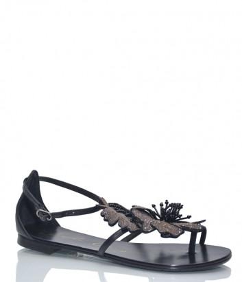 Кожаные сандалии Lola Cruz 034Z10 с декором черные