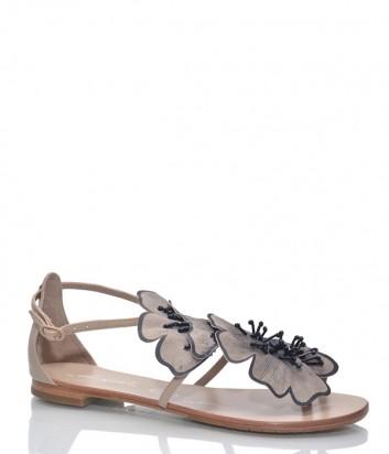 Кожаные сандалии Lola Cruz 034Z10 с декором бежевые