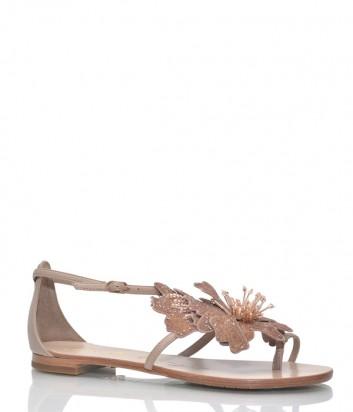 Кожаные сандалии Lola Cruz 034Z06 с декором бежевые