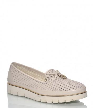 Туфли Lab Milano 20496 из перфорированной кожи пудровые