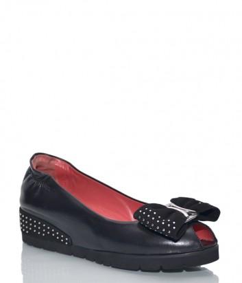 Черные кожаные туфли Pas De Rouge 2363 на скрытой танкетке
