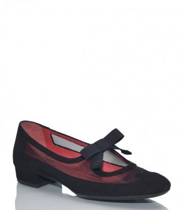 Черные замшевые туфли Pas De Rouge 2139 с бантиком