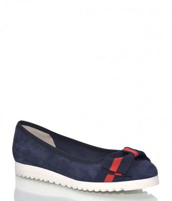 Синие замшевые туфли Status 8412 с бантиком
