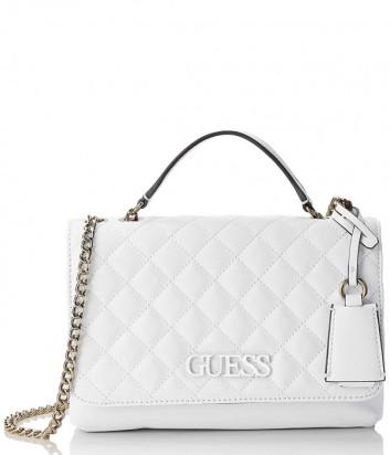 Стеганная сумка Guess 2210 на цепочке белая