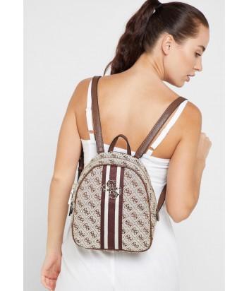 Текстильный рюкзак Guess 4320 с монограммой бренда коричневый