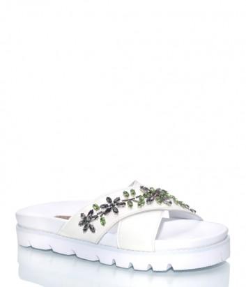 Белые кожаные шлепанцы Albano 2240 с кристаллами