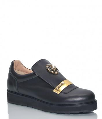 Кожаные туфли Kelton 1654 черные на танкетке