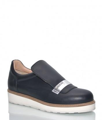 Кожаные туфли Kelton 1646 черные на белой танкетке